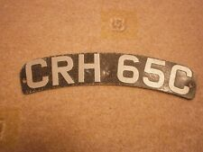 GREAT BRITAIN CURVED MOTORCYCLE KINGSTON UPON HULL # CRH 65C RARE LICENSE PLATE