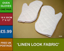 ONE PAIR Kitchen Plain Linen Look Quilted Oven Glove Mitt  Mittens Cream CG30