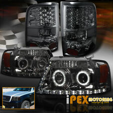 2004-2008 Ford F150 Halo Projector BlackOut Headlights + LED Smoke Tail Lights