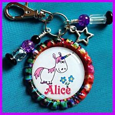 Personalized UNICORN Bottle Cap Pendant. KeyChain,Necklace, Jewelry, Zipper Pull