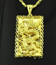 18K YELLOW  GOLD 3-D DRAGON PENDANT WHITE GOLD LUNG UNIQUE 10.00 GRAMS