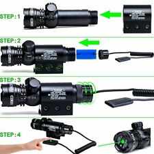 30MW Green Laser Sight Gun Rail Mount Dual Ring & Remote Switch For Hunting