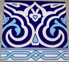 """Floral & Geometric Raised Blue 10 8""""x8"""" Turkish Iznik Ceramic Tile BORDER"""