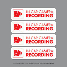 SKU2299 - Set Of Four In Car Camera Recording Car Sign Sticker - CCTV - Dashcam