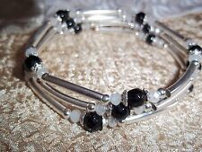 Black GLASS & CRYSTAL Bead ADJUSTABLE Coil Wrap Bracelet N-52 by Quality Jewelry