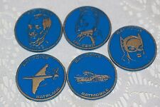 1966 BATMAN LOT OF 5 BAT COIN COINS BATPLANE ALFRED CATWOMAN MR ZERO BLUE