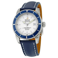 Breitling Superocean Heritage Automatic Silver Dial Blue Leather Mens Watch