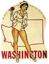 Washington   Pin-Up    1950's Vintage-Style   Travel Sticker/Decal