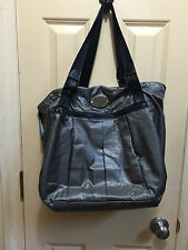 Metallic gun metal fabric leather accents bag purse Kenneth Cole Reaction, roomy