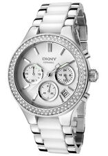 New DKNY NY8181 Ladies White Ceramic Crystals Watch -Next Day Delivery ,Warranty