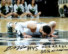 Denzel Valentine REPRINT signed auto photo Michigan State basketball Floor Kiss