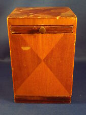 vintage MARQUETRY Handmade BANK  folk art  early 1950's  collectible  wood gift