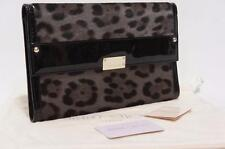 JIMMY CHOO 'REESE' LEOPARD PRINT CALF HAIR CLUTCH WALLET BAG SMOKE $995