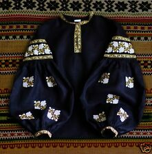 Ukrainian boho embroidered black peasant blouse Vita Kin style, vyshyvanka shirt