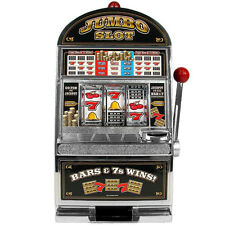 Large Scale Replica Slot Machine Bank w Casino Sound Flashing Jackpot Light