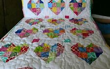 Pieced Scrap Love Sweet Heart Baby Girl Crib Quilt Handmade Handcrafted Throw