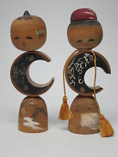 Two VTG Kokeshi Wood Dolls Matched Pair Crescent Moon Bodies SIGNED tassels