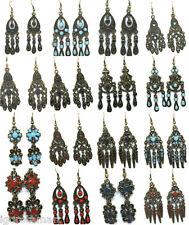 New Womans Bronze Dangle Chandelier Studs Hoop Earrings Fish Hook Design UK Post