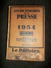 Annuaire international de la presse 1954 Guide de la publicité