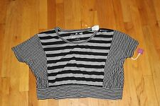 POOF TOP  GREY/BLACK  POLY/RAYON  SIZE LARGE  NEW WITH TAGS