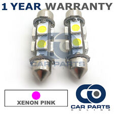 2X PINK CANBUS NUMBER PLATE INTERIOR 8 SUPER BRIGHT SMD LED BULBS 39MM 18PX2