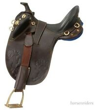 14 Inch Youth Australian Stockman Bush Rider Saddle-Horn-Dark Oil-Regular Tree