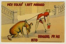USA NUDE BUTT BLOND & DONKEY / BLONDINE NACKTER PO & ESEL * Humor AK um 1930