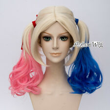Blonde Mix Blue Pink Cosplay Wig + Curly Ponytails For Harley Quinn