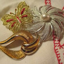 Vintage Sarah Cov Gerry's Gold-tone Silver-tone Enamel Brooches Pins Jewelry Lot