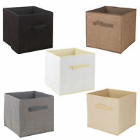 Collapsible Storage Boxes Cube Woven Kids Toys Carry Handles Bits Bobs Organise