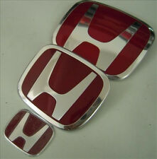 3xJDM Honda Civic Red H Emblem12-16 Coupe 2DR Front-Back-steering wheel Si Dx Ex