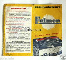 Publicité ancienne ad Fulmen accumulateur batterie signalisation routière