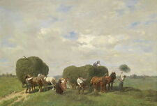 Stunning art Oil painting Herders mowing pasture - carriage with horses canvas