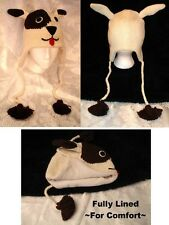 DOG HAT knit ski cap ADULT mens womens for humans BROWN beanie NEW toque costume