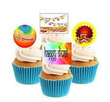 Novelty Happy Diwali Collection 12 Edible Stand Up wafer paper cake toppers