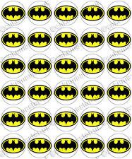 30 x Batman Logo Edible Rice Wafer Paper Cupcake Toppers