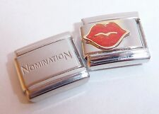 GLITTER LIPS 9mm Italian Charm & 1x Genuine Nomination Classic Link RED KISS