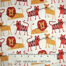Jungle Party Fabric - Safari Lion & Tiger Toss Beige - Robert Kaufman YARD