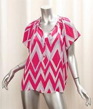 TUCKER Pink Purple Zig Zag Print HENLEY Shirt Top Blouse s.MEDIUM NEW RT$253