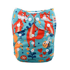 AlvaBaby  Fox Reusable Washable Pocket Cloth Diaper Nappy +1Insert 6-33lbs