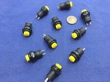 10 Pieces Yellow small N/O Momentary 12mm push button Switch round 12v on off C2