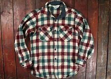 VINTAGE Woolrich Verde/Rosso Plaid Lumberjack Camicia di lana di controllo Rockabilly USA 34 XS