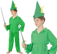 Childrens Kids Green Peter Pan Fancy Dress Costume Robin Hood Childs Outfit L