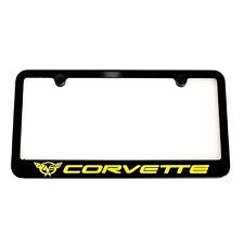 Chevrolet Corvette C5 Satin Black License Plate Frame -Engraved Yellow Logo -USA