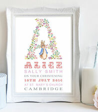 A4 Personalised Name Peter Rabbit Picture Print Christening Gift Nursery Baby