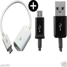 ✔COMBO Micro USB OTG Cable+USB Data Cable Charger For Samsung Sony HTC LG INTEX✔