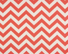 Drapery Upholstery Fabric 100% Cotton Duck Chevron / Zig Zag - Coral