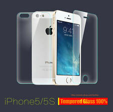Front + Back Premium Real Tempered Glass Film Screen Protector for iPhone 5 5s