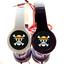 1p Anime One Piece Luffy Strawhat Pirate Skull Stereo Headphone Earphone Headset