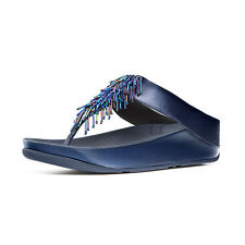 FitFlop Cha Cha Beaded Sandals, Sapphire Blue, Women Size 9, $110